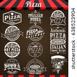 white  collection of pizza... | Shutterstock . vector #638523904