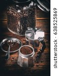 old coffee maker filled with... | Shutterstock . vector #638525869
