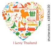 thailand love. set thai icons... | Shutterstock . vector #638526130
