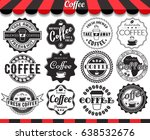 set of vintage retro coffee... | Shutterstock . vector #638532676