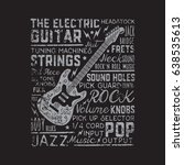 rock music  guitar typography ... | Shutterstock .eps vector #638535613