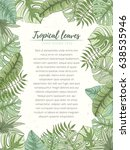 hand drawn tropical palm leaves ...   Shutterstock .eps vector #638535946