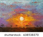 Oil Art On Canvas Of Sunset In...