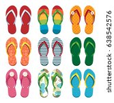 set of colorful flip flops.... | Shutterstock .eps vector #638542576
