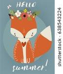 summer cute fox | Shutterstock .eps vector #638543224