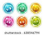 funny bright round stickers... | Shutterstock .eps vector #638546794