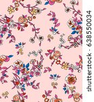 bohemian pretty ditsy floral... | Shutterstock . vector #638550034