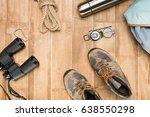 traveler set on wooden...   Shutterstock . vector #638550298