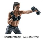 strong woman doing boxing... | Shutterstock . vector #638550790