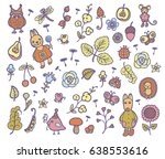 set of vector forest cartoon... | Shutterstock .eps vector #638553616