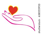 hand and heart   Shutterstock .eps vector #638555953