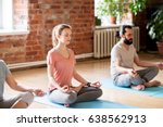 fitness  yoga and healthy... | Shutterstock . vector #638562913