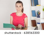 young businesswoman in office... | Shutterstock . vector #638563300