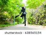 businessman jumping on the road ... | Shutterstock . vector #638565154