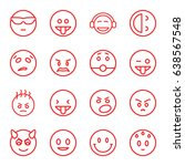 emotion icons set. set of 16... | Shutterstock .eps vector #638567548