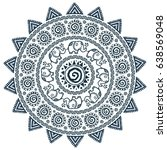 grunge vector mandala with... | Shutterstock .eps vector #638569048