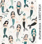 mermaid seamless pattern... | Shutterstock .eps vector #638571814