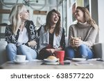 three best friends. young women ... | Shutterstock . vector #638577220