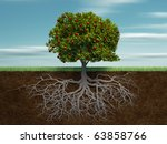 Conceptual tree with apple and root - this is a 3d render illustration - stock photo
