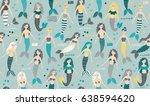 mermaid seamless pattern   Shutterstock .eps vector #638594620