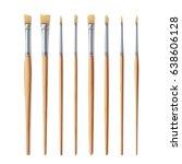 realistic artist paintbrushes... | Shutterstock .eps vector #638606128