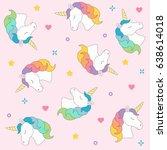 unicorn head seamless pattern... | Shutterstock .eps vector #638614018