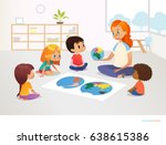 children sit around world map... | Shutterstock .eps vector #638615386