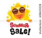 summer sale  summer sun with... | Shutterstock .eps vector #638623228