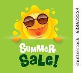 summer sale  summer sun with... | Shutterstock .eps vector #638623234