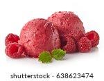 two raspberry ice cream sorbet... | Shutterstock . vector #638623474