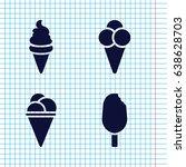 set of 4 icecream filled icons...