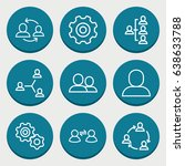 set of 9 teamwork outline icons ... | Shutterstock .eps vector #638633788