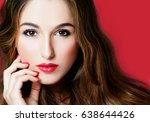 beautiful woman makeup close up ... | Shutterstock . vector #638644426