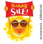 summer sale  summer sun holding ... | Shutterstock .eps vector #638646160