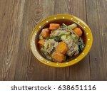 crock pot rabbit stew    french ... | Shutterstock . vector #638651116