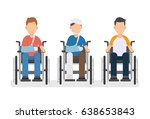 young man in wheelchairs set ... | Shutterstock .eps vector #638653843