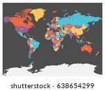political map of world with... | Shutterstock .eps vector #638654299