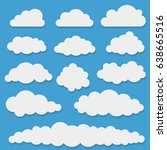 comic white cloud shapes on... | Shutterstock .eps vector #638665516