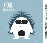 awesome retro cute hedgehog... | Shutterstock .eps vector #638670130