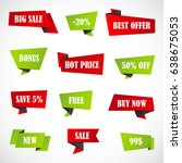 vector stickers  price tag ... | Shutterstock .eps vector #638675053