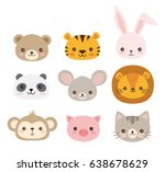 Stock vector cute animal faces a set of vector illustrations of cartoon animal heads including bear pig mouse 638678629