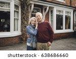 senior couple are smiling for... | Shutterstock . vector #638686660