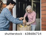 teenage boy is delivering some... | Shutterstock . vector #638686714