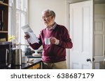 senior man is standing in the... | Shutterstock . vector #638687179