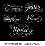 music and guitar hand written... | Shutterstock .eps vector #638689600