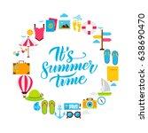 summer time flat circle. set of ... | Shutterstock .eps vector #638690470