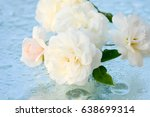 beautiful roses reflected in... | Shutterstock . vector #638699314