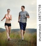caucasian couple running... | Shutterstock . vector #638717758