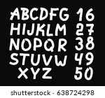 hand drawn letters and numbers... | Shutterstock .eps vector #638724298