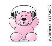 happy cartoon bear with headset ...   Shutterstock .eps vector #638726740